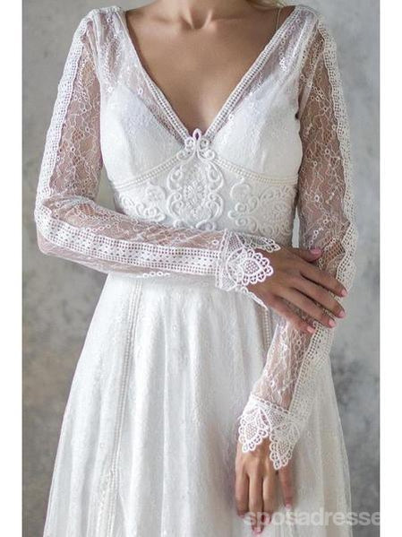 Long Sleeves Lace Backless Cheap Wedding Dresses Online, Cheap Bridal Dresses, WD543