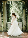 Long Sleeves Backless Plus Size Wedding Dresses Online, Cheap Bridal Dresses, WD639