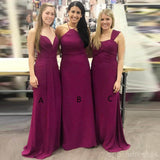 Cheap Mismatched Plum Custom Long Bridesmaid Dresses, WG231
