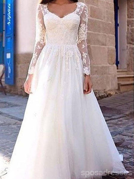 Long Sleeve Lace A-line Cheap Wedding Dresses Online, WD366