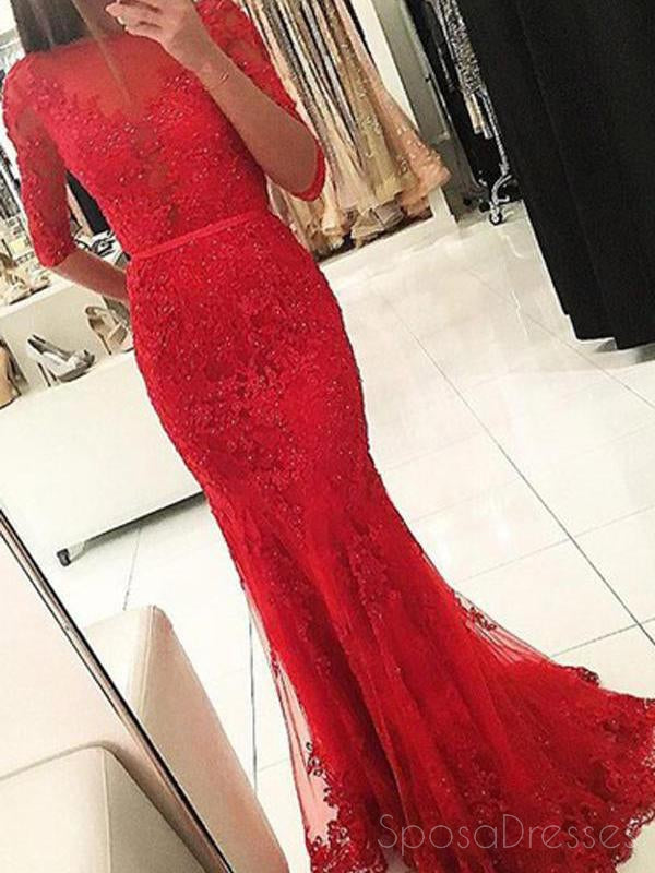 7164db9b09e Long Sleeve Backless High Neck Red Mermaid Lace Long Evening Prom Dres –  SposaDresses