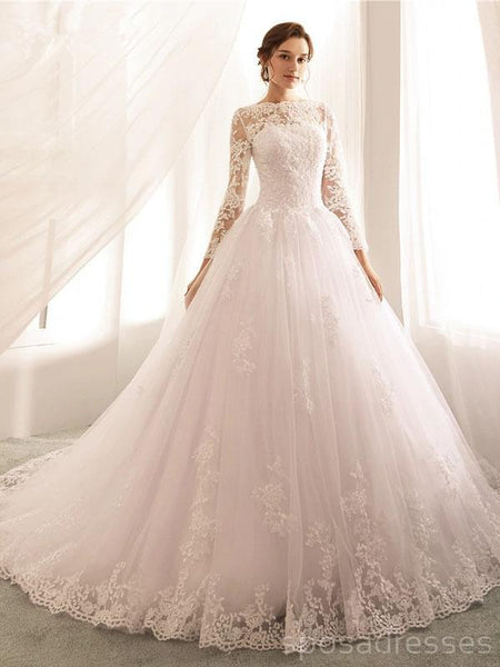 Long Sleeves Lace Beaded Cheap Wedding Dresses Online, Cheap Bridal Dresses, WD506
