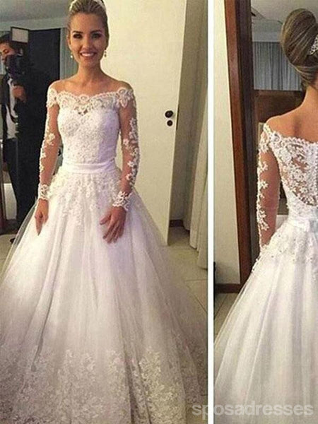 94688e257b3a Cheap Vantage Off Shoulder Long Sleeve White Lace Tulle Wedding Party  Dresses