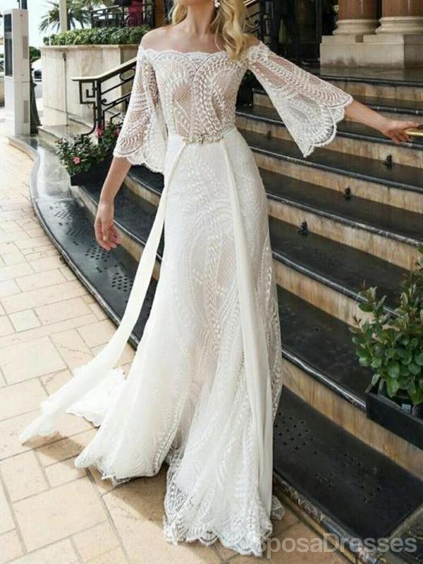 Off Shoulder Long Sleeves Lace Wedding