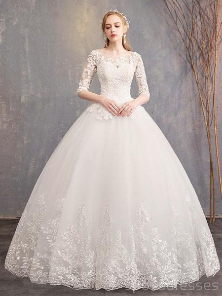 9d4288774a Long Sleeves Lace Ball Gown Cheap Wedding Dresses Online, Cheap Bridal –  SposaDresses