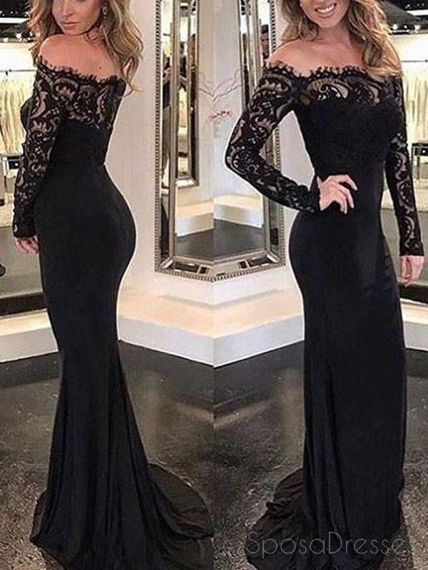 d30649502d Sexy Black Off Shoulder Long Sleeves Lace Mermaid Custom Long Evening Prom  Dresses