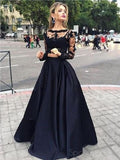 Long Prom Dress ,Black Prom Dress,Prom Dress With Lace ,Long Sleeve Elegant Prom Dress,PD0045
