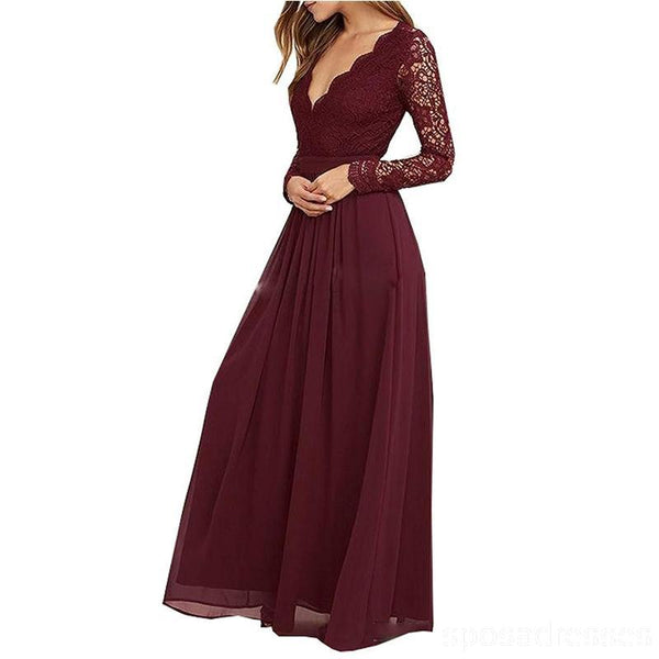 Cheap Burgundy Long Sleeve Lace Custom Long Bridesmaid Gowns, BD0250