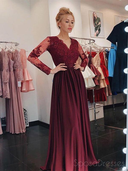 Long Sleeves Maroon Lace Beaded Long Evening Prom Dresses, Cheap Sweet 16 Dresses, 18427