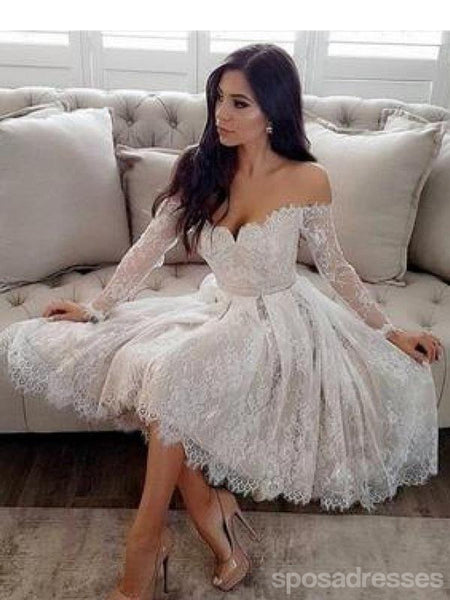 Long Sleeves Off Shoulder Ivory Lace Short Homecoming Dresses Online, CM682