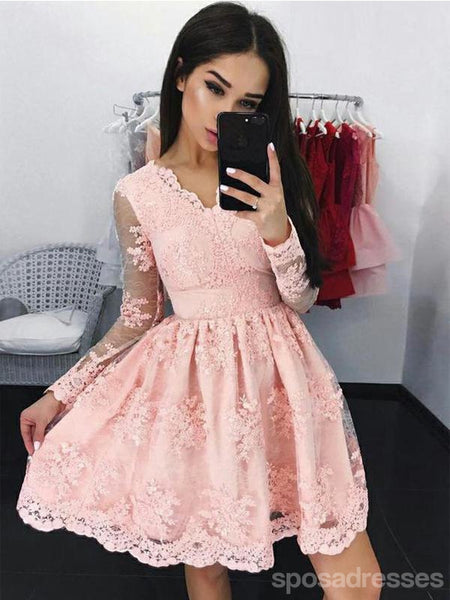 Pink Long Sleeves Lace Short Homecoming Dresses Online, CM608