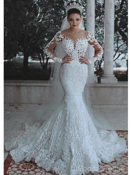 Long Sleeves Lace Beaded Mermaid Wedding Dresses Online Cheap Unique Bridal Dresses Wd600