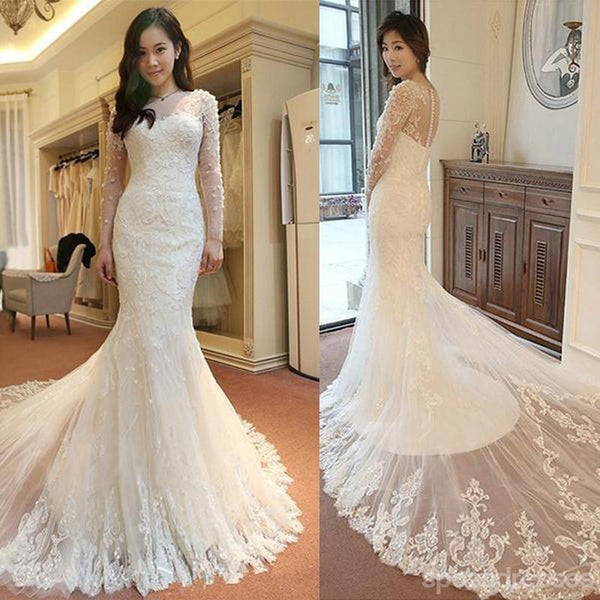Affordable Custom Made Mermaid Long Sleeve Lace Wedding Dresses, WD0092