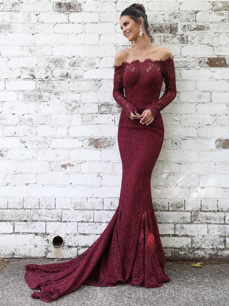 Off Shoulder Long Sleeves Lace Mermaid Long Evening Prom Dresses, Cheap Sweet 16 Dresses, 18386