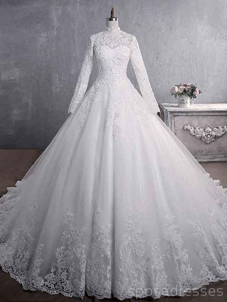 Cheap Long Sleeves High Neck Modest Wedding Dresses Online, Cheap Bridal Dresses, WD517