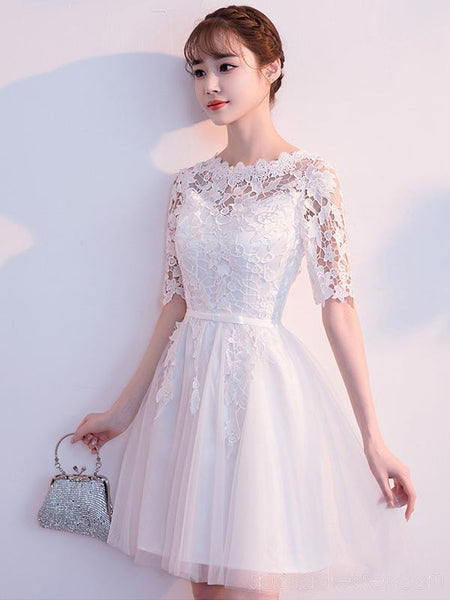 Off Shoulder Lace Short Sleeves Cheap Homecoming Dresses Online, Cheap Short Prom Dresses, CM798