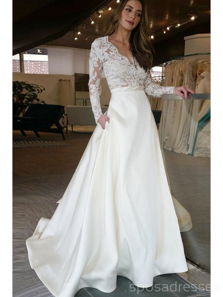 Long Sleeves Lace A-line Cheap Wedding Dresses