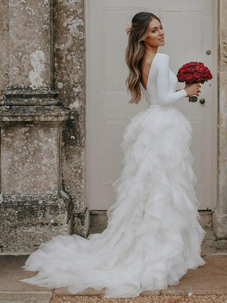 Long Sleeves Ruffle Organza Wedding Dresses Online, Cheap Lace Bridal Dresses, WD482