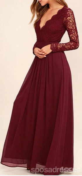 Cheap Dark Red Long Sleeve Lace Custom Long Bridesmaid Gowns, BD0250