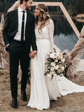 Two Pieces Long Sleeves Lace Wedding Dresses Online, Cheap Wedding Gown, WD666