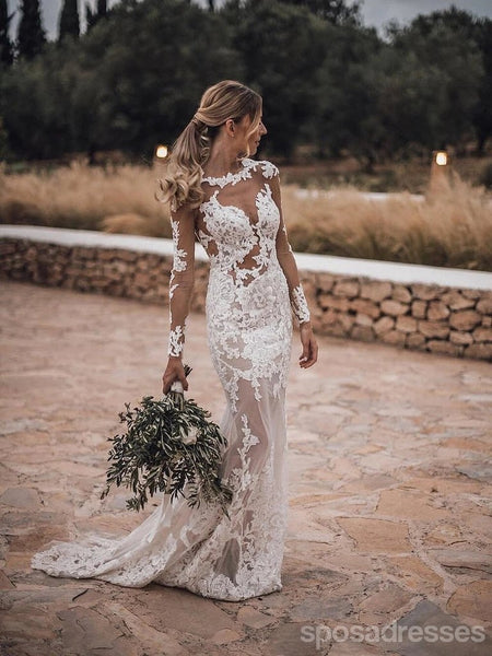 Long Sleeves Backless Lace Mermaid Wedding Dresses Online, Cheap Bridal Dresses, WD627