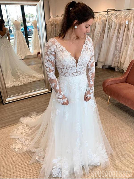 Long Sleeves See Through Cheap Wedding Dresses Online, Cheap Bridal Dresses, WD655