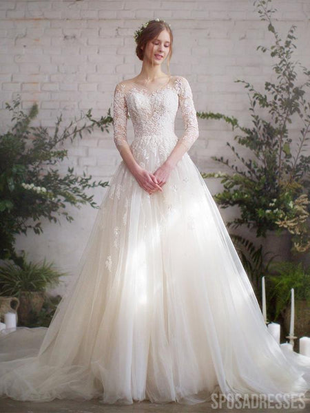 Fairy Long Sleeves A-line Lace Wedding Dresses, Cheap Wedding Gown, WD682