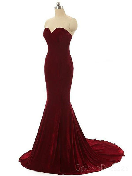 Simple Sweetheart Maroon Mermaid Fashion Evening Prom Dresses, Popular Cheap Party Prom Dresses, Custom Long Prom Dresses, Cheap Formal Prom Dresses, 17158