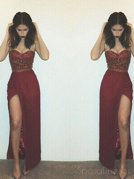 Rust Red Long Evening Prom dresses, Sexy Slit prom dresses, Mermaid Prom Dresses, 16019