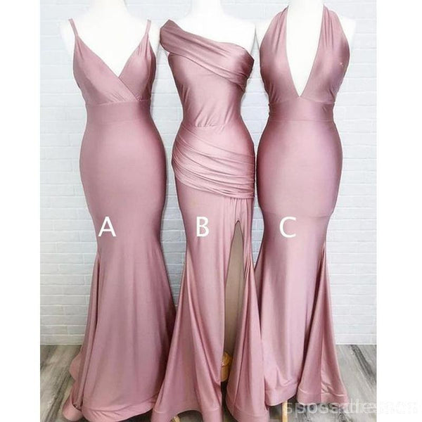 Simple Burgundy Cheap Mermaid Long Bridesmaid Dresses Online, WG812