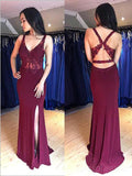 Sexy V Neck Mermaid Maroon Open Back Long Evening Prom Dresses, Cheap Sweet 16 Dresses, 18419