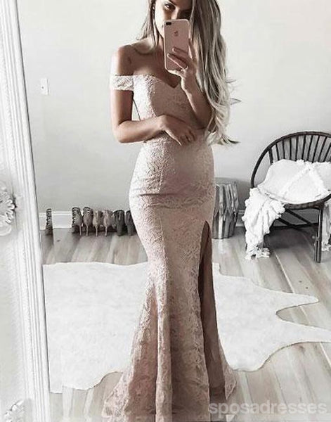 Off Shoulder Side Slit Lace Mermaid Long Evening Prom Dresses, Popular Cheap Long 2018 Party Prom Dresses, 17263