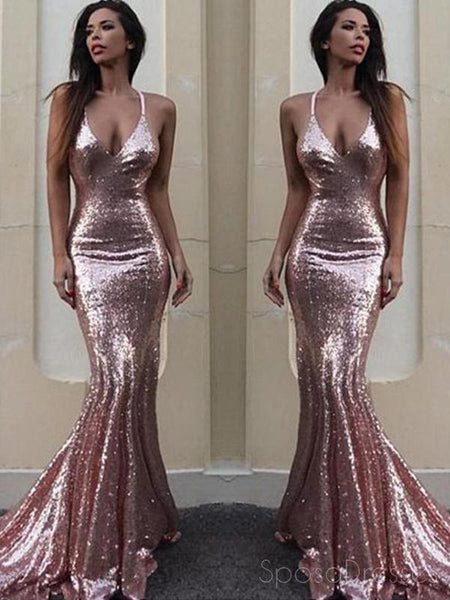 4ef4586542 Sexy Backless Rose Gold Sequin Mermaid Evening Prom Dresses, Popular 2018  Party Prom Dresses,
