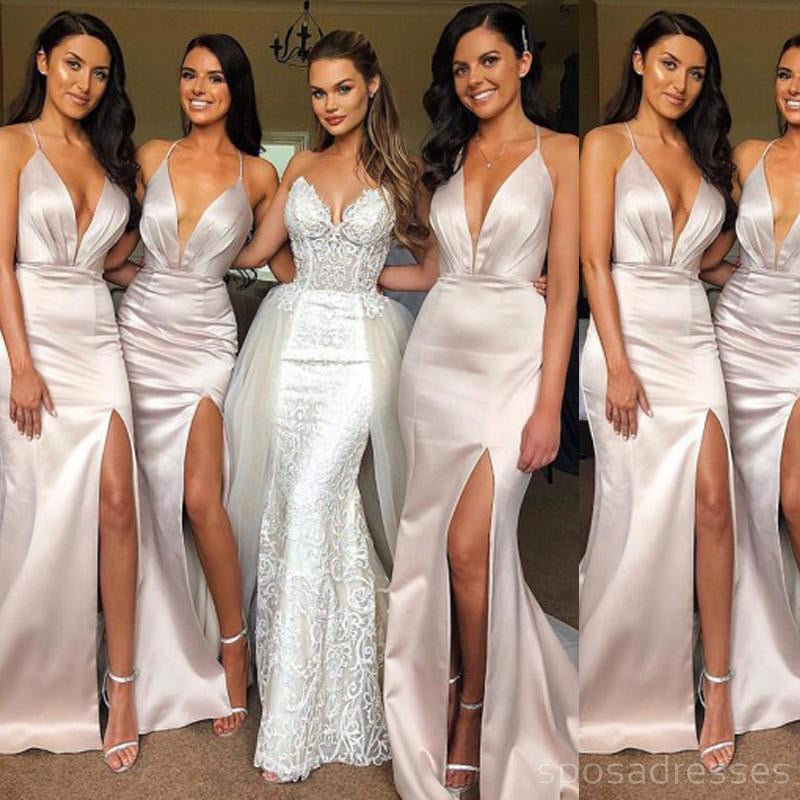 Gold Mismatched Long Mermaid Cheap Sequin Bridesmaid Dresses Online, WG246