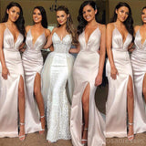 Sexy Halter Side Slit Mermaid Long Bridesmaid Dresses Online, WG305