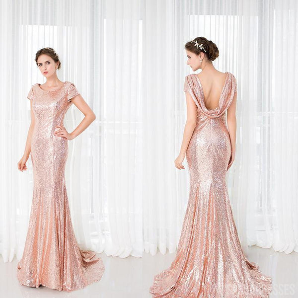 Mermaid Cap Sleeves Long Sequin Bridesmaid Dresses Online, WG895