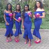 Mermaid Off The Shoulder Royal Blue Short Bridesmaid Dresses Online, WG872
