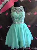 Mint Green Chiffon Beaded Short homecoming prom dresses, Custom Cocktail Dresses  CM0013