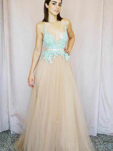V-neck Mint Lace Tulle A-line Long Evening Prom Dresses, Cheap Party Custom  Prom Dresses, 18622