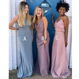 Mismatched Custom Cheap Long Bridesmaid Dresses Online, WG352
