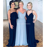Chiffon Blue Long Bridesmaid Dresses Online, Cheap Bridesmaids Dresses, WG701