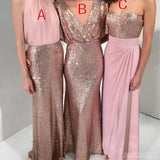 Mismatched V Neck & Halter & Sweetheart Long Bridesmaid Dresses Online, WG884