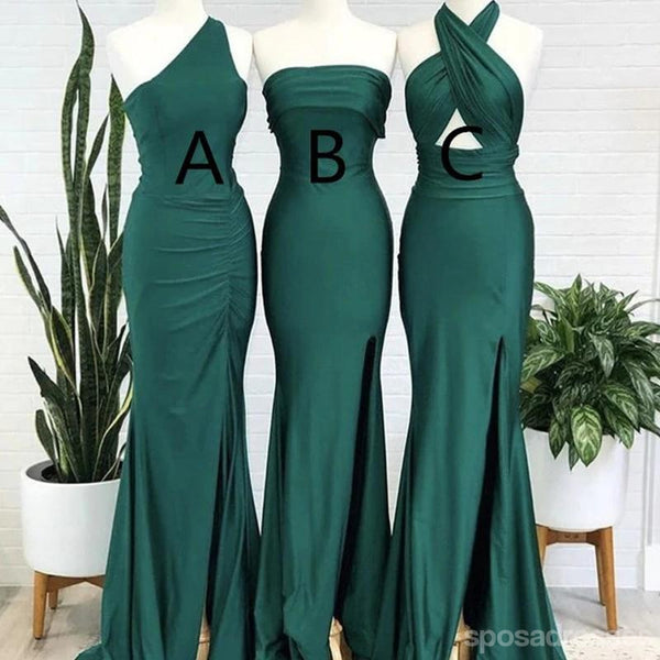 Mermaid Mismatched Sleeveless Side Slit Long Bridesmaid Dresses Online, WG909