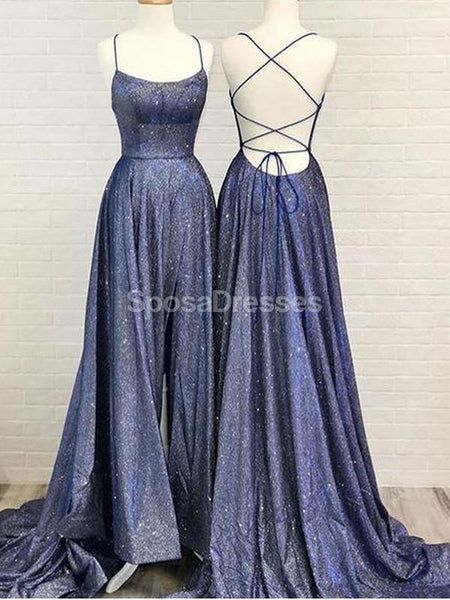 Navy Blue Spaghetti Straps Glitter Long Evening Prom Dresses, Evening Party Prom Dresses, 12282