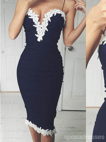 Spaghetti Straps Navy Tight Cheap Short Homecoming Dresses Online, CM673