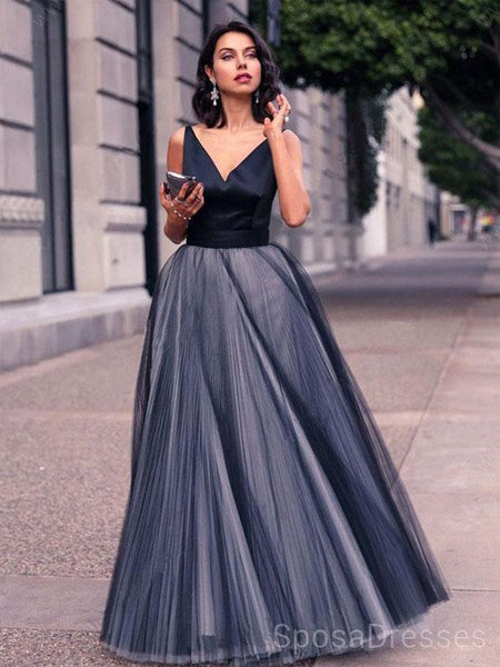 Navy Simple V Neck A-line Evening Prom Dresses, Cheap Custom Sweet 16 Dresses, 18496