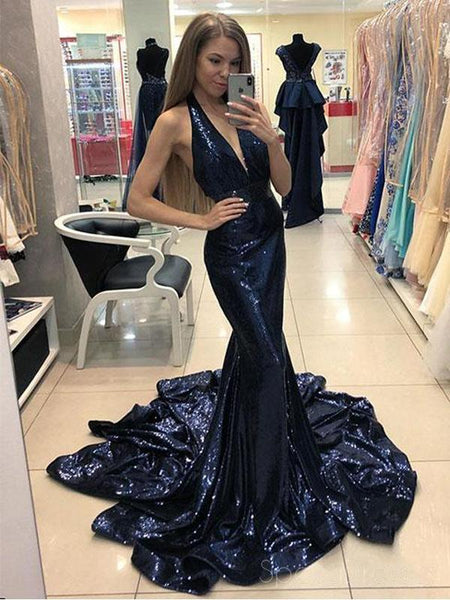 Sparkly Sequin Mermaid Navy Halter Long Evening Prom Dresses, Cheap Sweet 16 Dresses, 18439