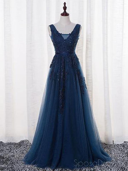 V Neckline Two Straps Lace Beaded Long Evening Prom Dresses, 2018 Party Prom Dresses, 17306
