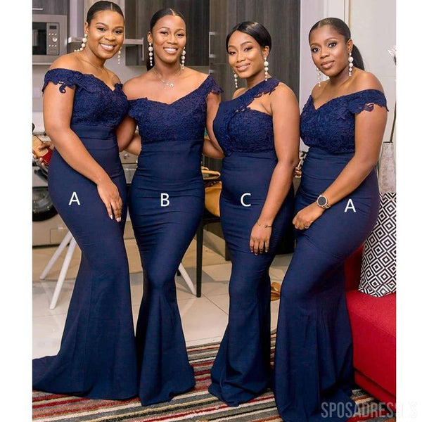 Mismatched Navy Blue Mermaid Long Bridesmaid Dresses Online, Cheap Bridesmaids Dresses, WG752