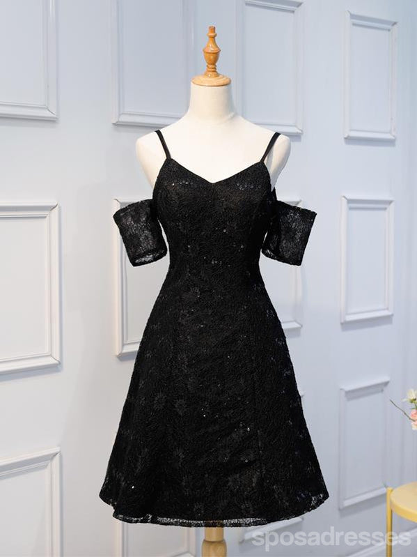 Cute Simple Two Piece Black Lace Cheap Homecoming Dresses 2018, CM416